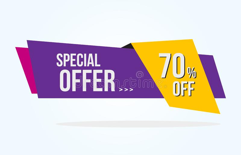70% rabattetikett med bandet för specialt erbjudande Sale etikett med mallen för annonseringerbjudandedesign royaltyfri illustrationer