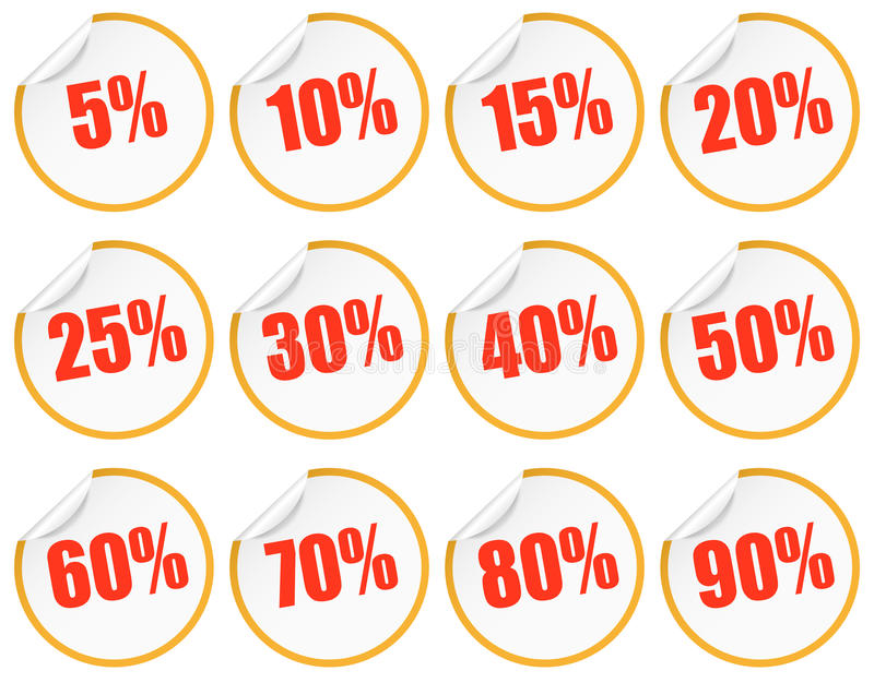 Rabattklistermärke - guling + rött royaltyfri illustrationer