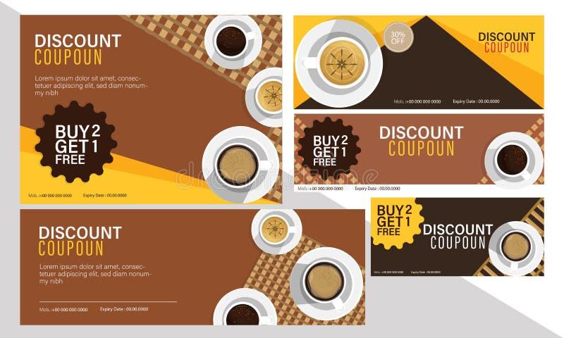 Rabattkupon eingestellt für Kaffeecafé lizenzfreie abbildung
