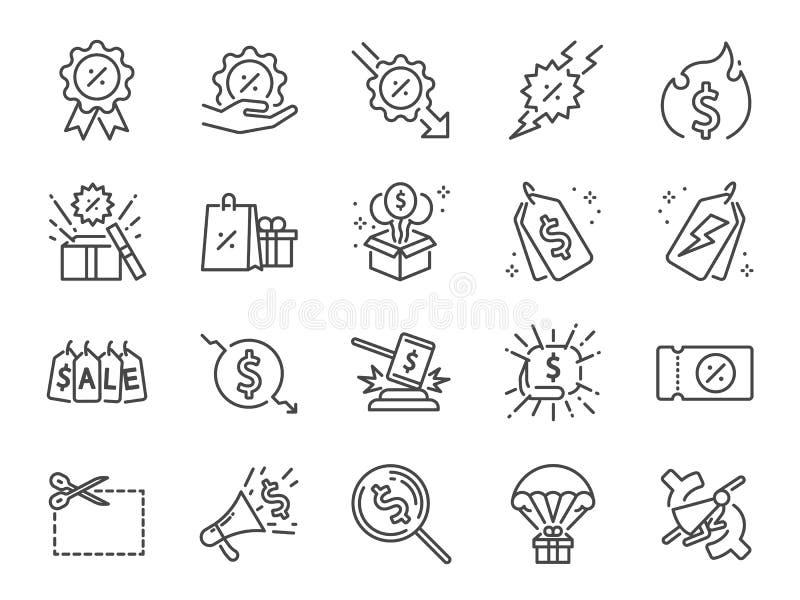 Rabattlinje symbolsuppsättning Bland annat symboler som Sale, shopping, procent, befordran, emblem, rensning och mer stock illustrationer