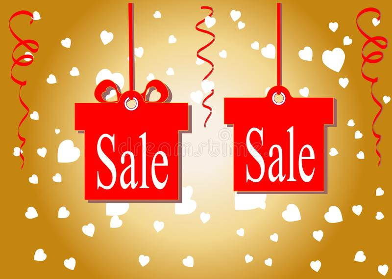 Rabattprocentsatsen Rabatterat pris och försäljning guld- bakgrund Shoppar och avfärdar de lägsta priserna också vektor för corel stock illustrationer