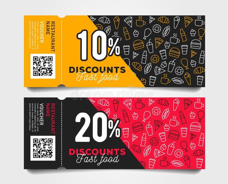 Rabattreva-avkuponger med design för barcodesnabbmatmall med den linjära modellen av mat och drinkar stock illustrationer