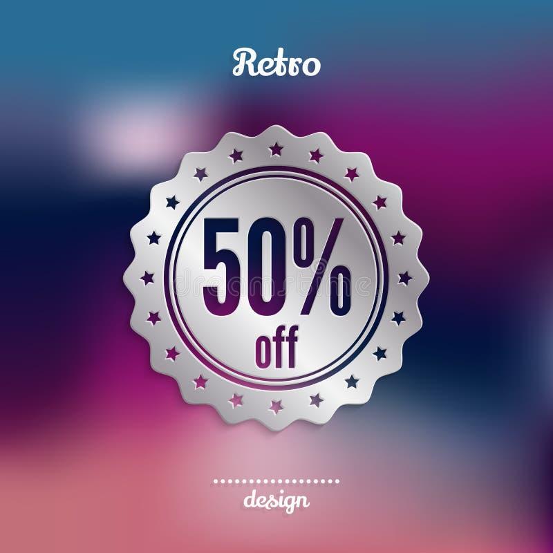 Rabattsilveremblem Femtio procent erbjudande Produktbefordran vektor stock illustrationer