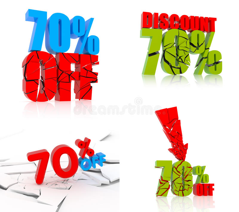 70% rabattuppsättning vektor illustrationer