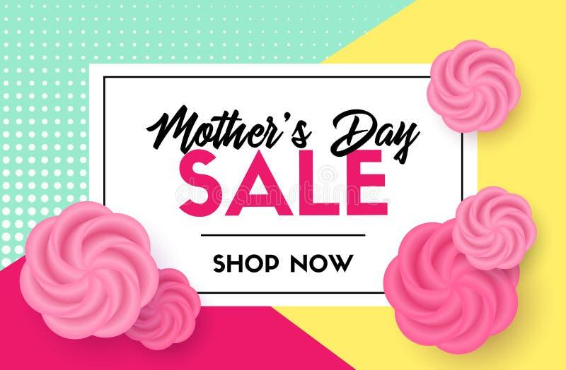 Rabattvektormall Kort för försäljning för dag för moder` s vektor illustrationer