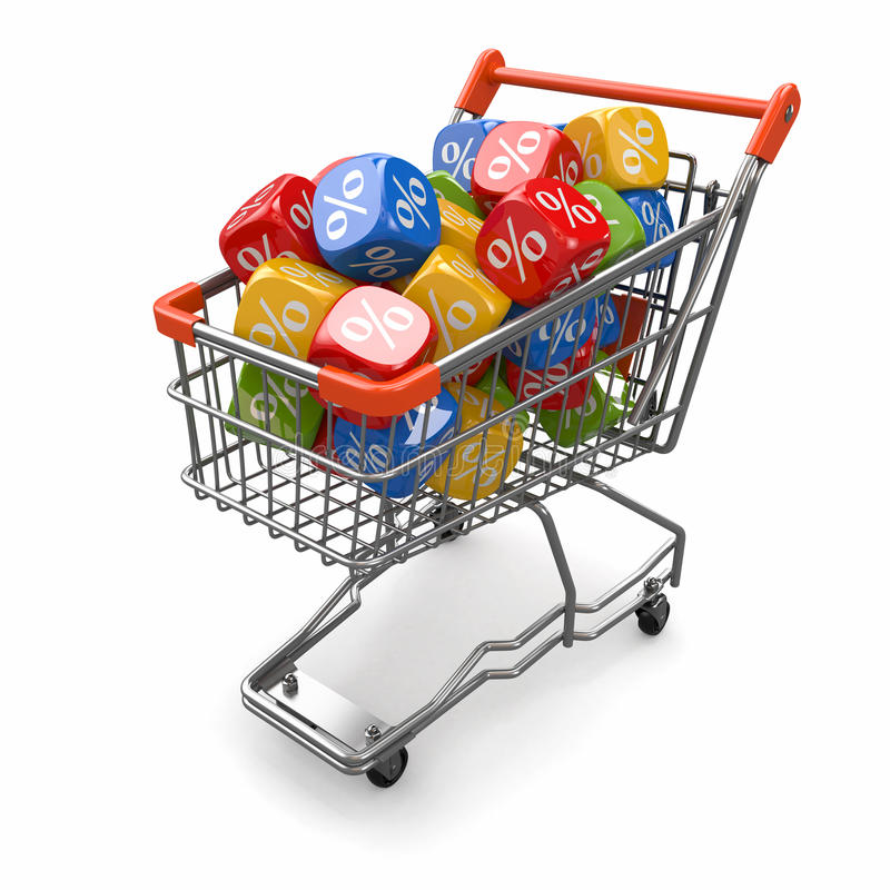 Rabaty. Wózek na zakupy i sześciany z procentem ilustracja wektor