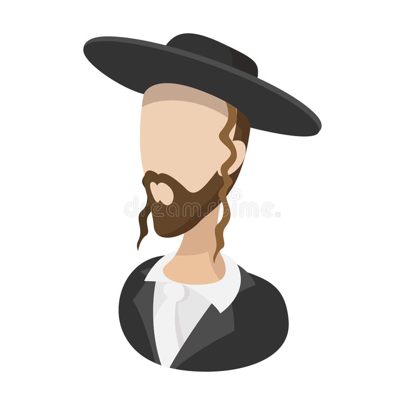 Rabbi cartoon icon. On a white background stock illustration