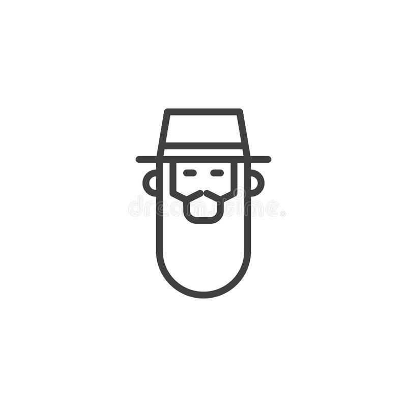 Rabbi head outline icon. Linear style sign for mobile concept and web design. Bearded rabbi with a hat simple line vector icon. Symbol, logo illustration vector illustration