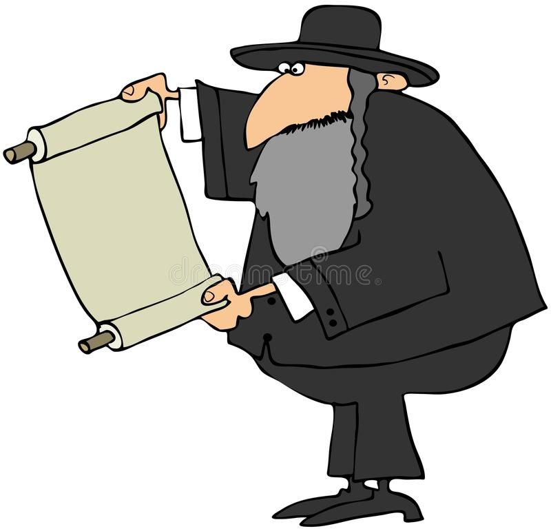 Rabbi Holding A Scroll. This illustration depicts a bearded Jewish Rabbi holding a partially rolled up scroll stock illustration