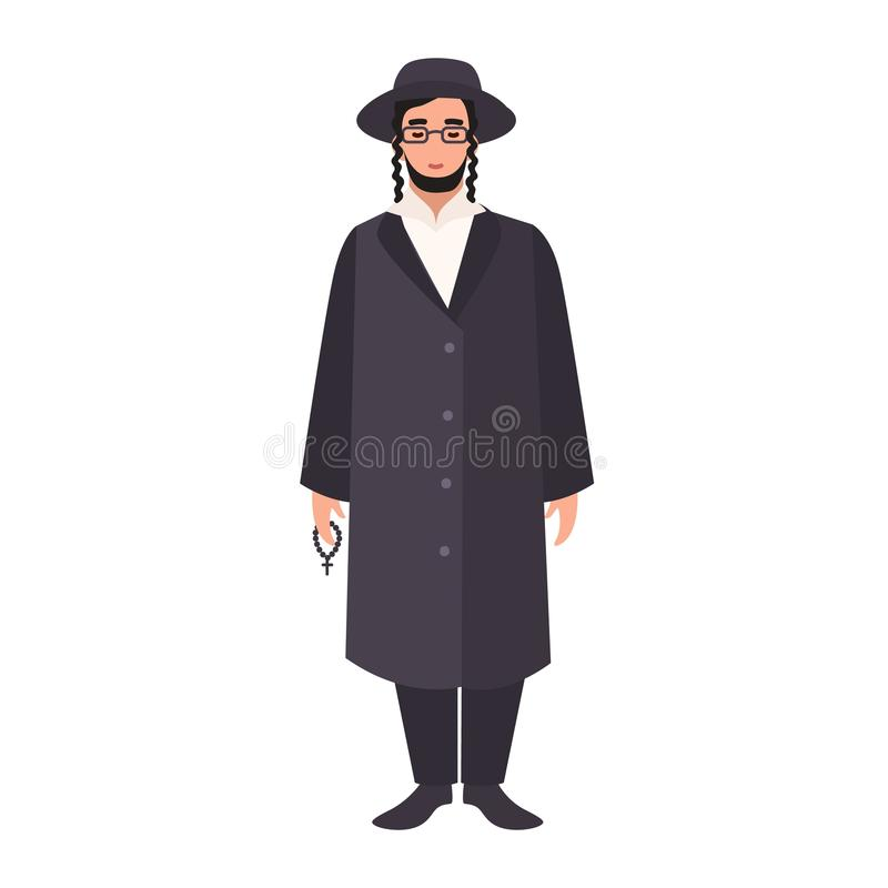 Rabbi with payot wearing traditional clothes and hat. Jewish clergyman, cleric or religious leader. Male cartoon. Character isolated on white background royalty free illustration