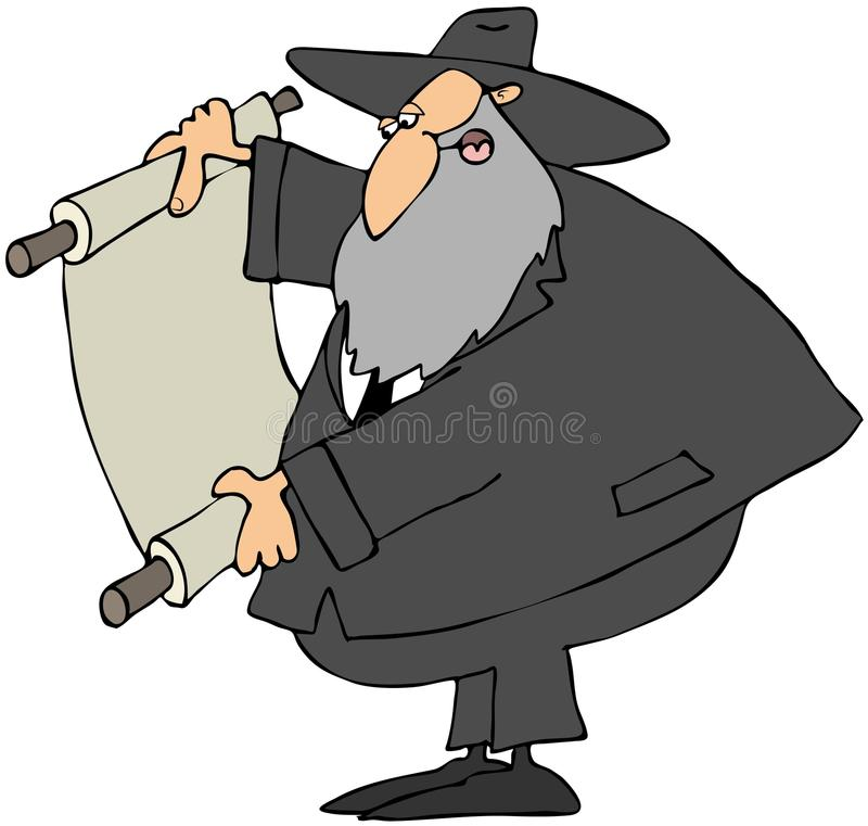 Rabbi Reading A Scroll. This illustration depicts a Jewish Rabbi reading from a scrolled parchment stock illustration