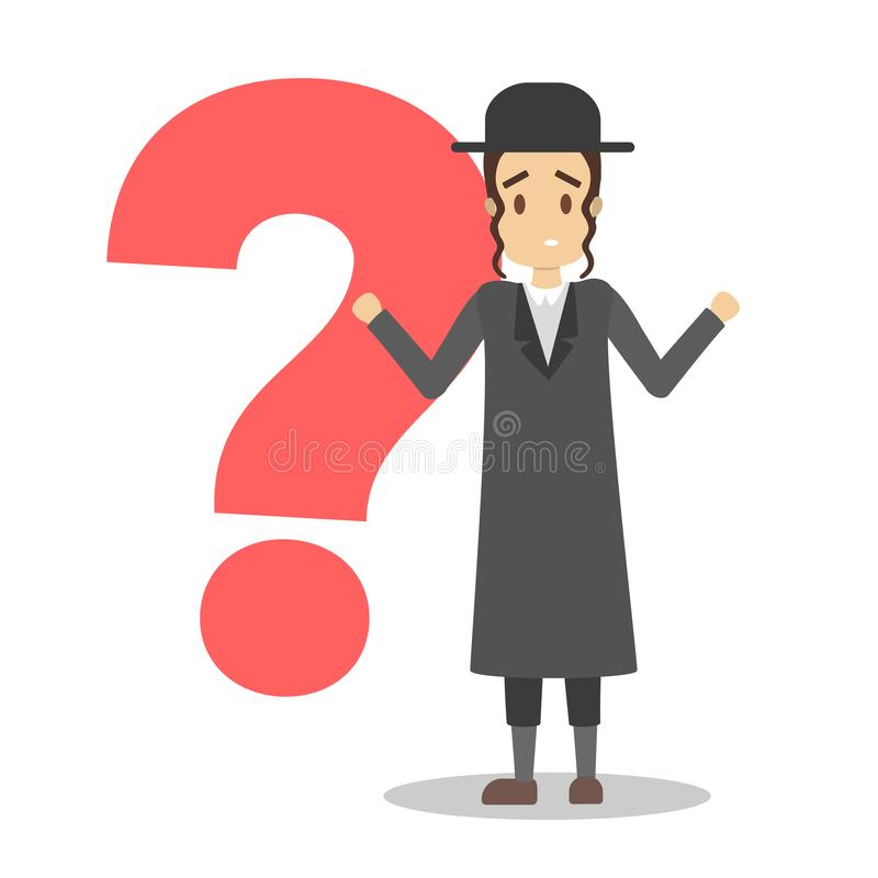 Rabbi standing in front of question mark vector illustration