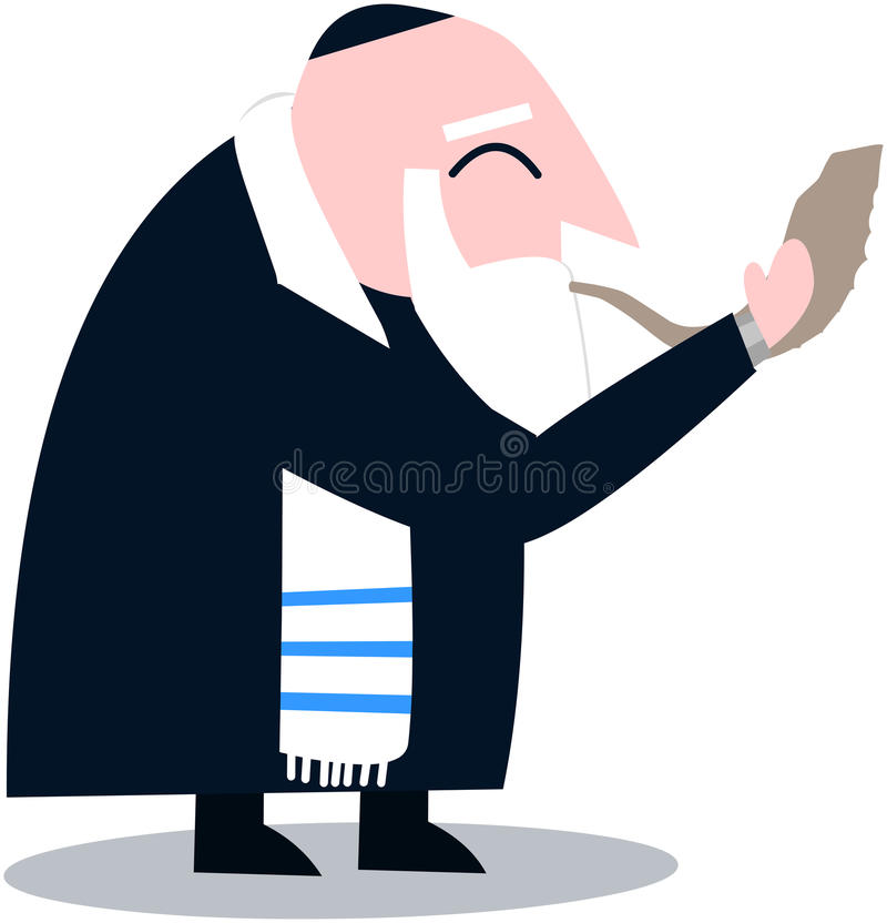 Rabbi With Talit Blows The Shofar. Vector illustration of a Rabbi with Talit blows the shofar the Jewish holiday Yom Kippur stock illustration