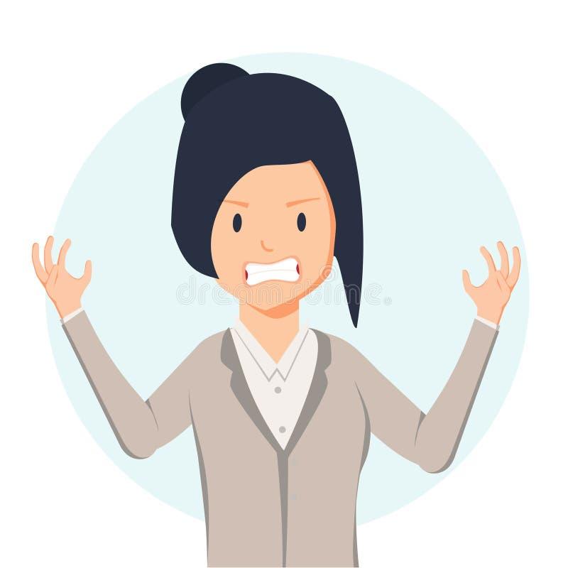 rabbia La donna diabolica esprime le sue emozioni negative Illustrazione di vettore nello stile del fumetto illustrazione vettoriale