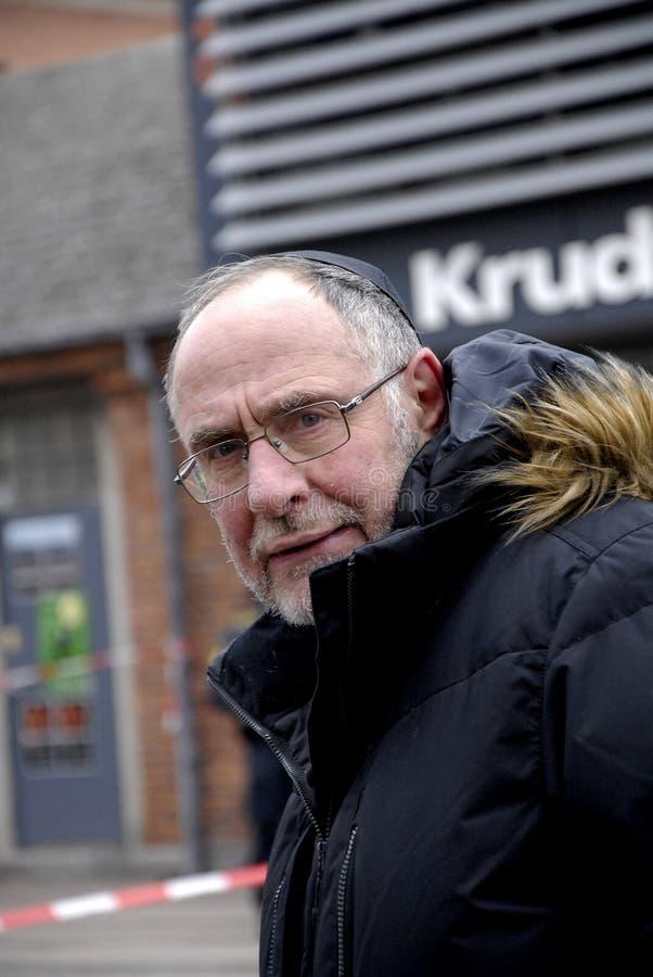 RABBIN BENT LEXNER VISITE LE SITE DE CAFÉ DE KRUDTTONDER photographie stock