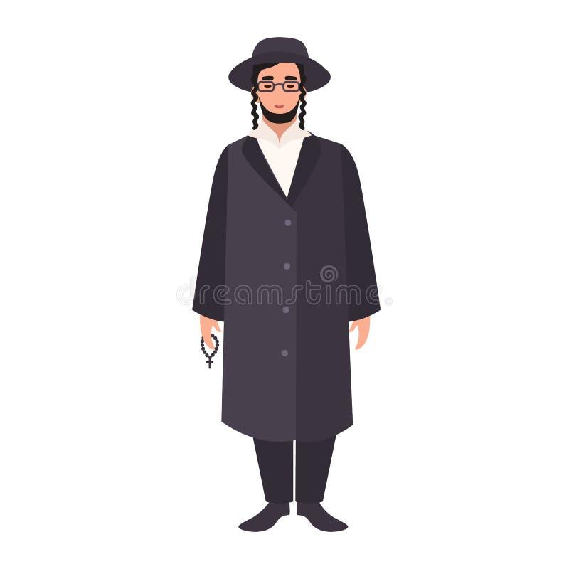 Rabbin med payot som bär den traditionella kläder och hatten Judisk präst, prästman eller religiös ledare Manlig tecknad film royaltyfri illustrationer