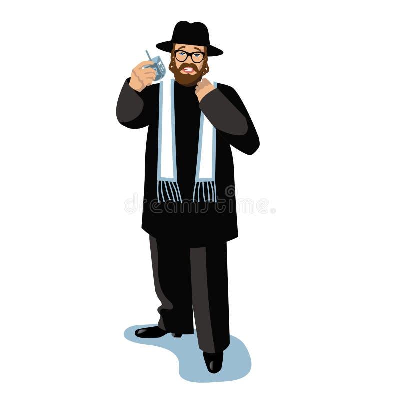 Rabbiner, der ein dreidel lokalisiert auf Weiß in der schneebedeckten Szene hält lizenzfreie abbildung