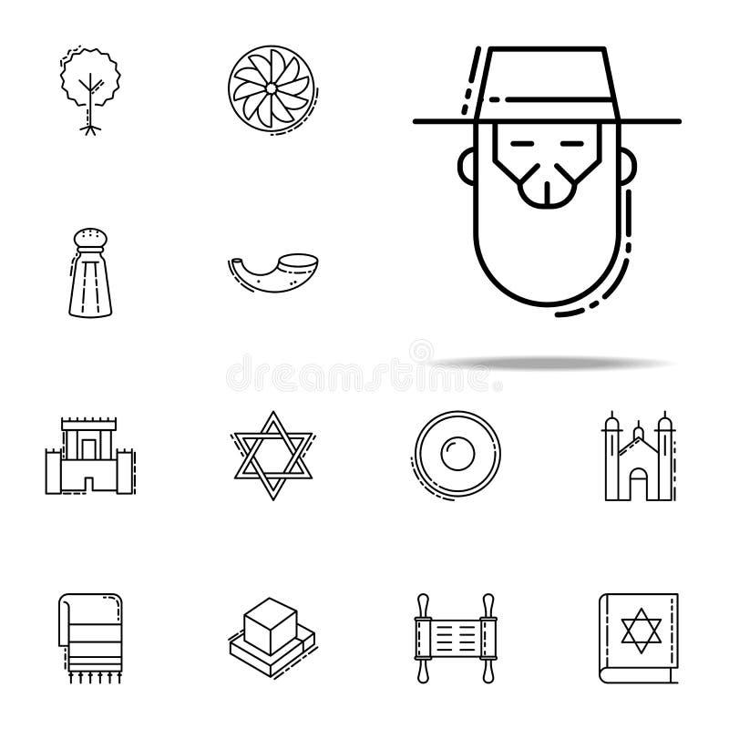 Rabbinsymbol Universell uppsättning för judendomsymboler för rengöringsduk och mobil stock illustrationer