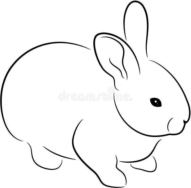 Rabbit. Silhouette, isolated. Cute animal illustration