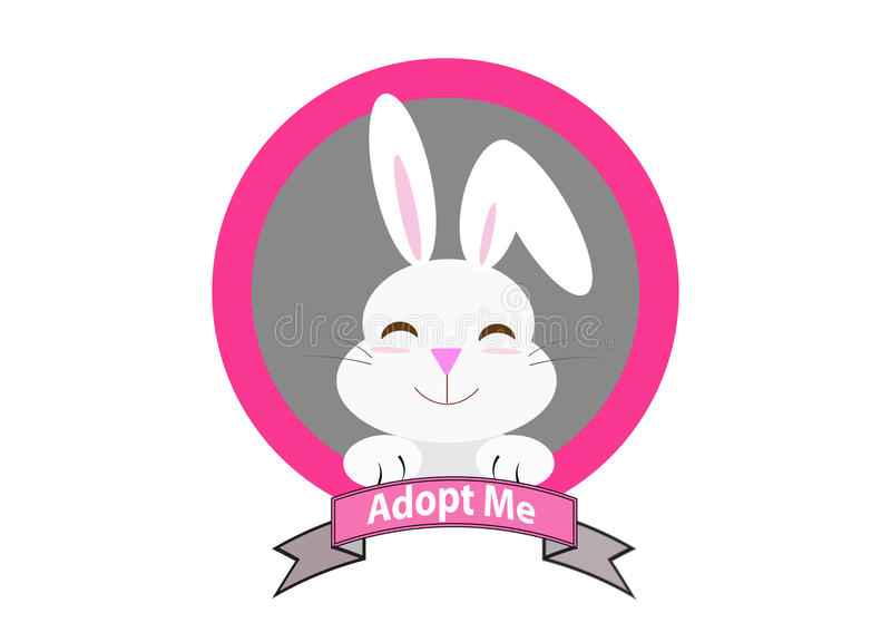 Rabbit with adopt me message royalty free illustration