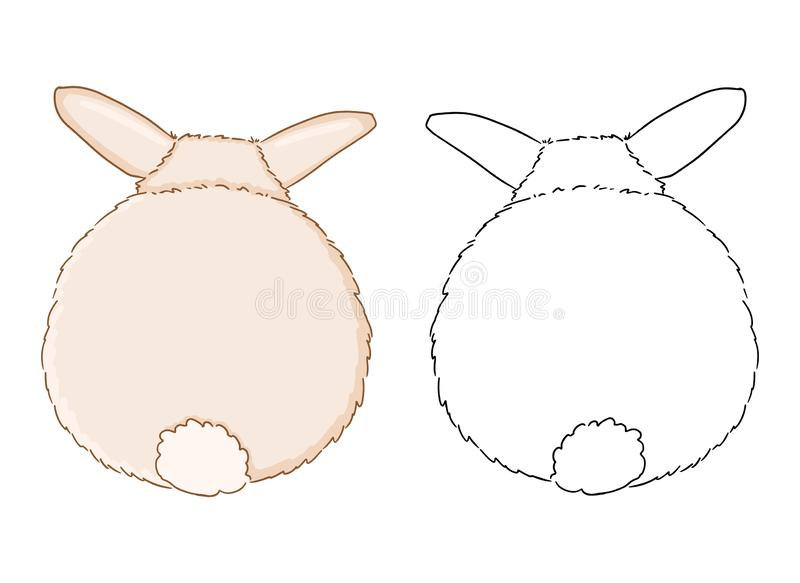 Rabbit backside for coloring page for children. Funny illustration of cute rabbit tail on white background vector illustration