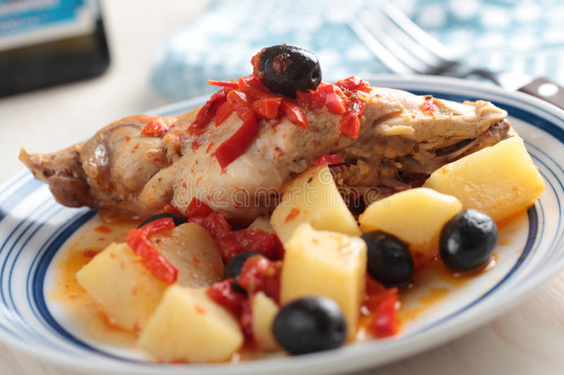 Rabbit with baked vegetables stock photography