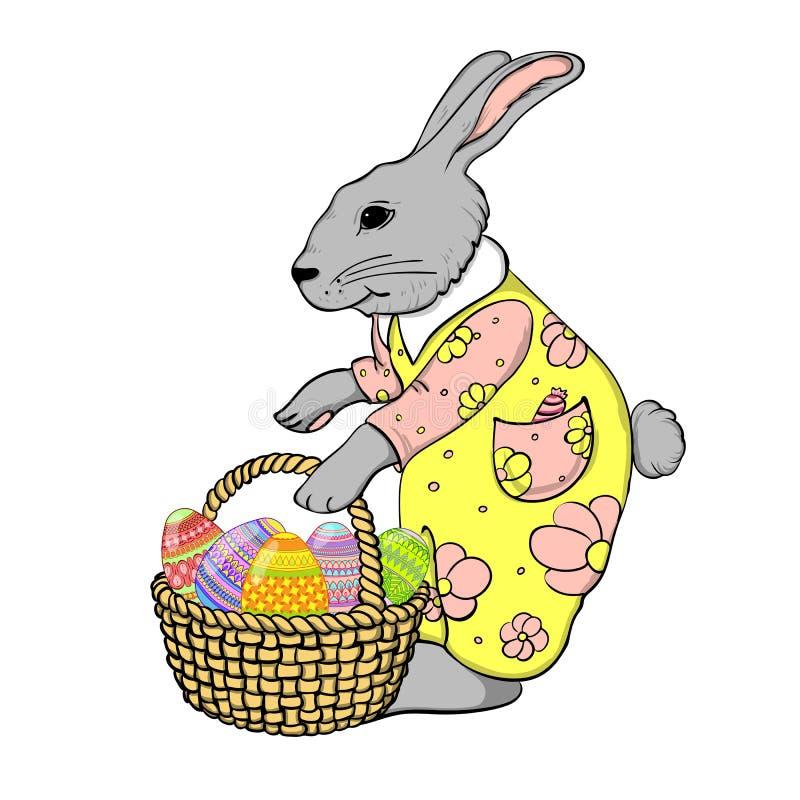 Rabbit with basket of eggs stock illustration