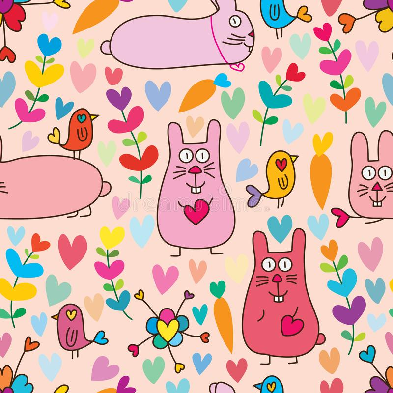Free Rabbit Bird Plant Love Seamless Pattern Royalty Free Stock Photography - 160910937