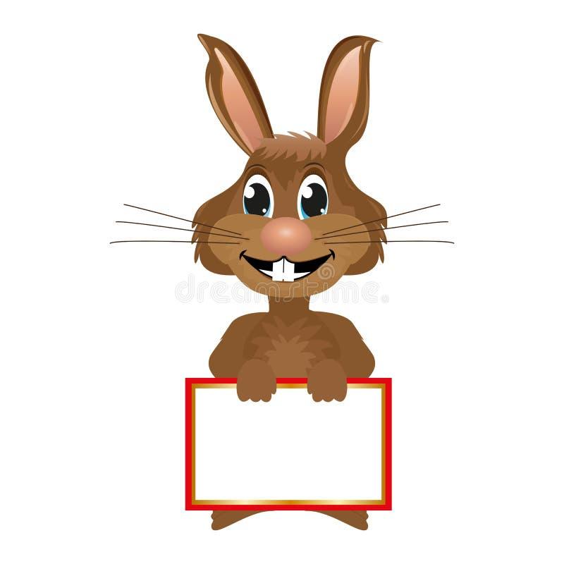 Rabbit with blank banner.  vector illustration