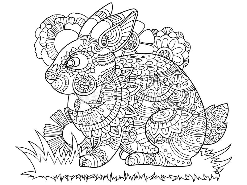 Volwassen Kleurplaten Konijnen Rabbit Bunny Coloring Book For Adults Vector Stock Vector