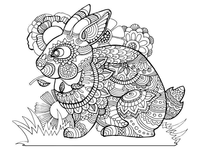 download rabbit bunny coloring book for adults vector stock vector image 81205015