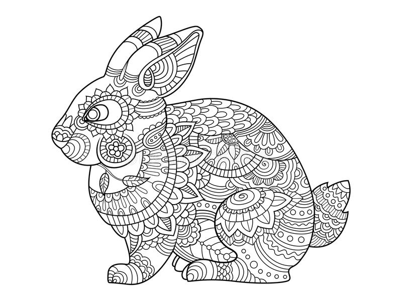 Download Rabbit Bunny Coloring Book For Adults Vector Stock