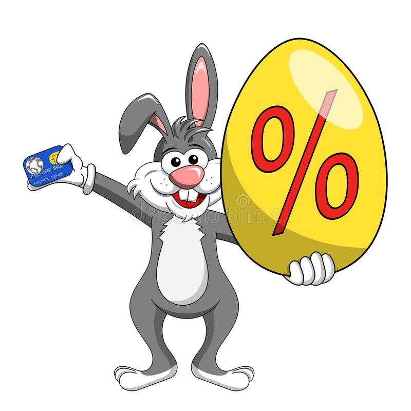 Download Rabbit Or Bunny Holding Discount Or Off Big Egg And Credit Card Stock Vector - Illustration of gloves, bunny: 107773899