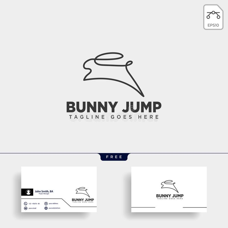 Rabbit or bunny jump animal line art style logo template vector icon. Element isolated vector illustration