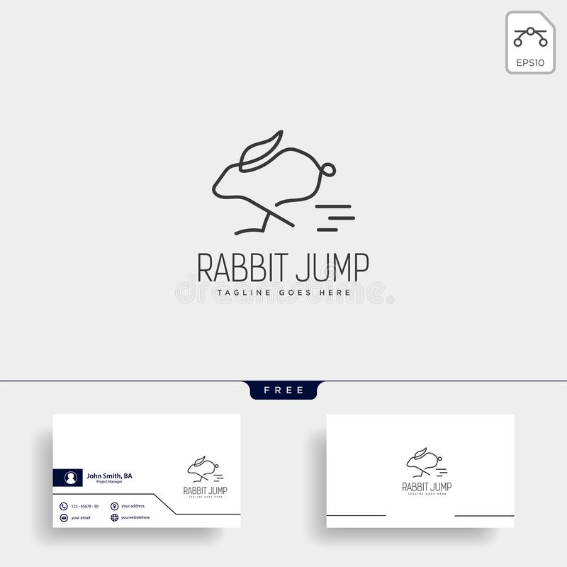 Rabbit or bunny jump animal line art style logo template vector icon. Element isolated stock illustration