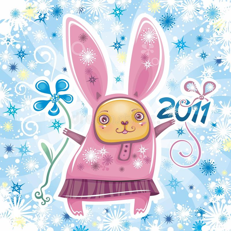 Rabbit card series 1 vector illustration