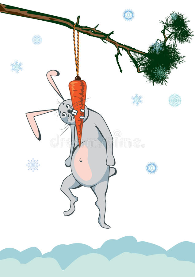 Rabbit and carrot. New Year illustration with rabbit and carrot royalty free illustration