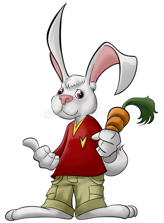 The rabbit with carrot. A smart rabbit with carrot in his hand royalty free illustration