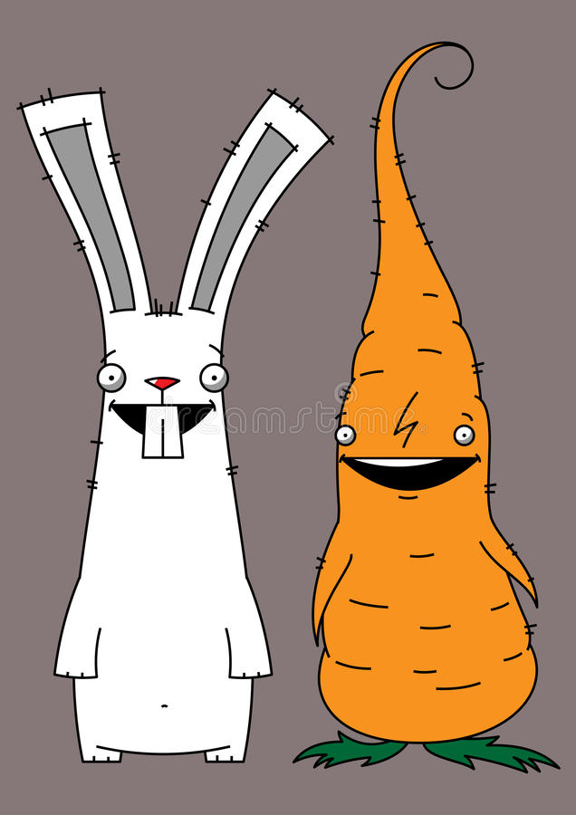 Rabbit and carrot. Illustration of a white rabbit and an orange carrot stock illustration