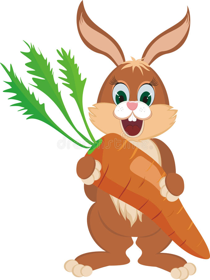 Rabbit with carrot. A happy rabbit with a giant carrot royalty free illustration