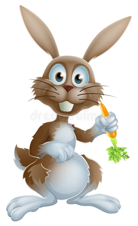 Rabbit with carrot. Cute cartoon bunny rabbit or Easter bunny holding a carrot and looking at viewer vector illustration