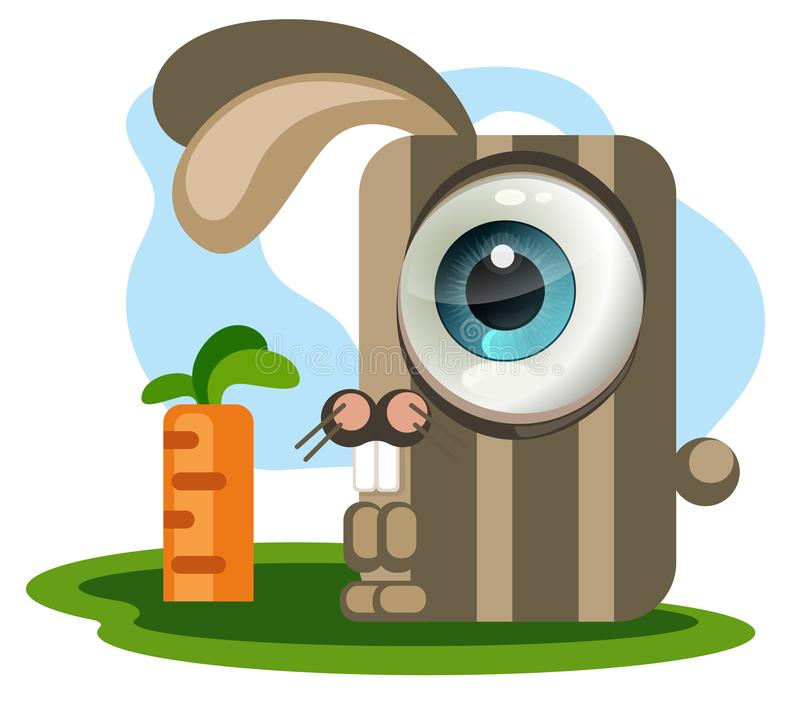 Rabbit and carrot. A rectangular rabbit with a big eye looks at a rectangular carrot. Cartoon character vector illustration stock illustration