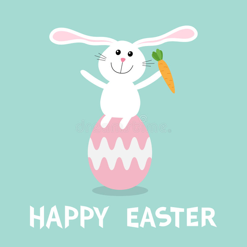 Rabbit with carrot sitting on painting pink egg shell. Happy Easter bunny pyramid set. Farm animal. Cute cartoon funny character. royalty free illustration