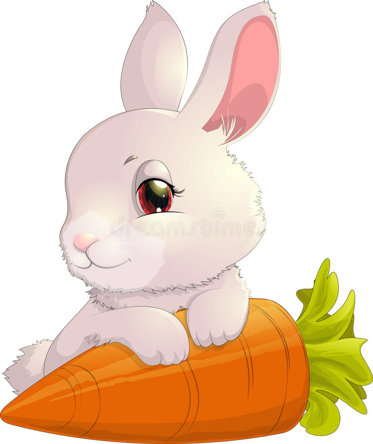 Rabbit on carrot. On a white background vector illustration