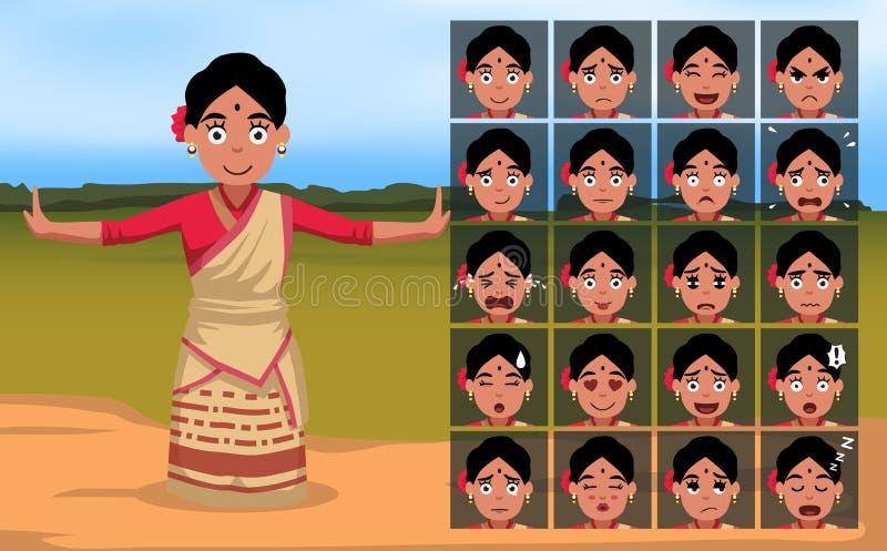 Bihu Indian Woman Cartoon Emotion faces Vector Illustration-01. Cartoon Emoticons EPS10 File Format stock illustration
