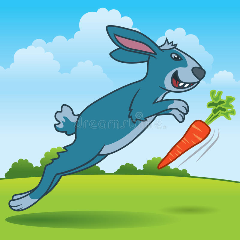 Rabbit Chasing a Carrot. Fun cartoon illustration of a rabbit running across the field trying to catch a carrot. More animals in my gallery stock illustration
