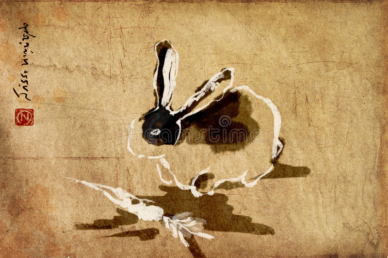Rabbit chinese brush painting, sumie stock photography