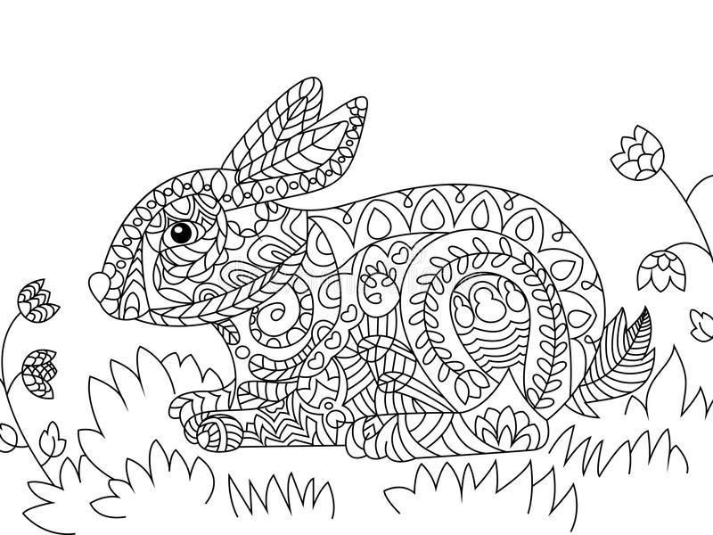 rabbit coloring vector adults illustration zentangle ethcnic style bunny tattoo page t shirt card poster print 79908310