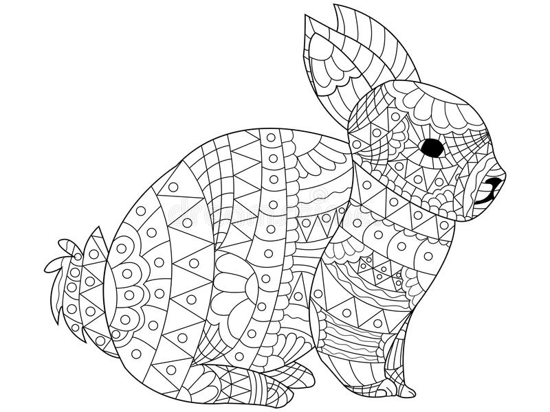Rabbit Coloring vector for adults. Rabbit Coloring pet adult vector illustration. Anti-stress coloring for adults bunny. Zentangle style. Black and white lines vector illustration