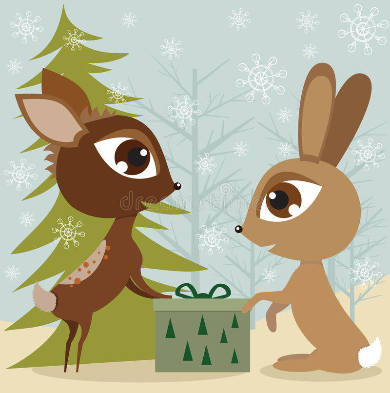 Download Rabbit and the deer stock vector. Image of painting, cheerful - 17509022